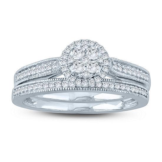 Womens 1 3 Ct Tw Genuine White Diamond 10k Gold Bridal Set