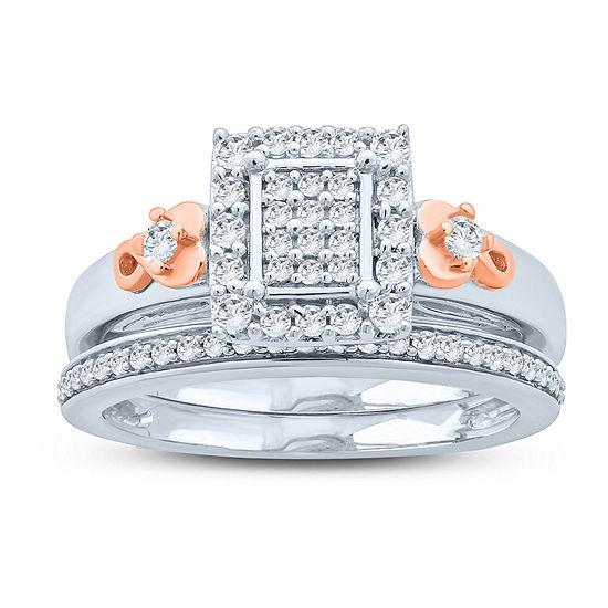 Womens 1/2 CT. T.W. Genuine White Diamond 10K Two Tone Gold Bridal Set