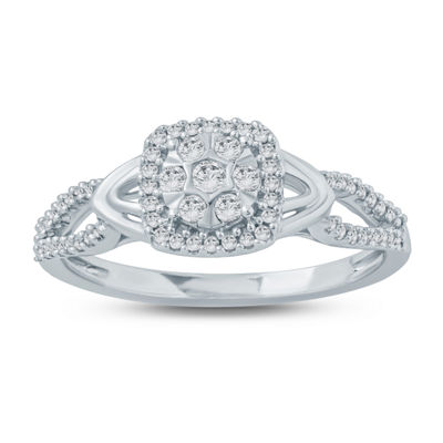 Promise My Love Womens 1/4 CT. T.W. Genuine White Diamond Promise Ring