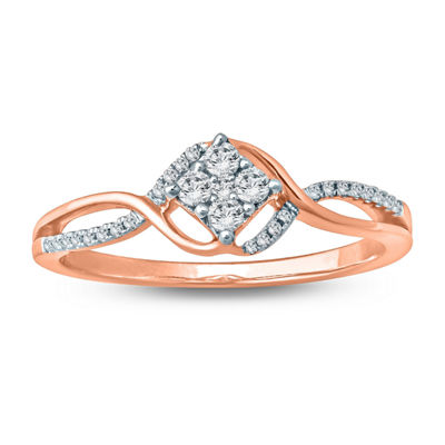 Promise My Love Womens 1/5 CT. T.W. Genuine White Diamond 10K Rose Gold Promise Ring