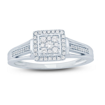 Promise My Love Womens 1/4 CT. T.W. Genuine White Diamond Sterling Silver Promise Ring