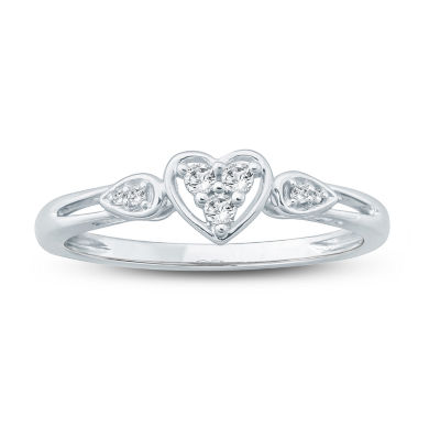 Promise My Love Womens 1/10 CT. T.W. Genuine White Diamond 10K Gold Heart Promise Ring
