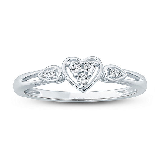 Promise My Love Womens 1 10 Ct Tw Genuine White Diamond 10k Gold Heart Promise Ring