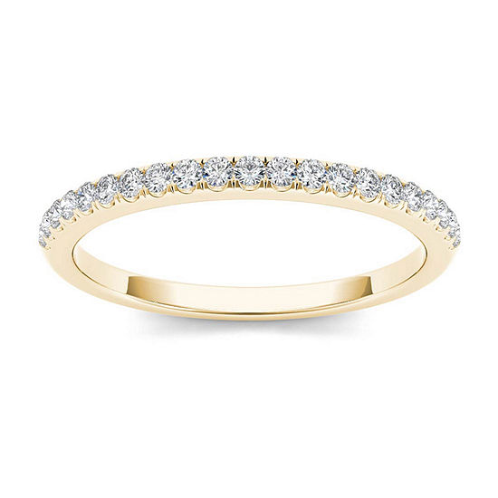 Womens 2 Mm 1/6 CT. T.W. Genuine White Diamond 10K Gold Wedding Band