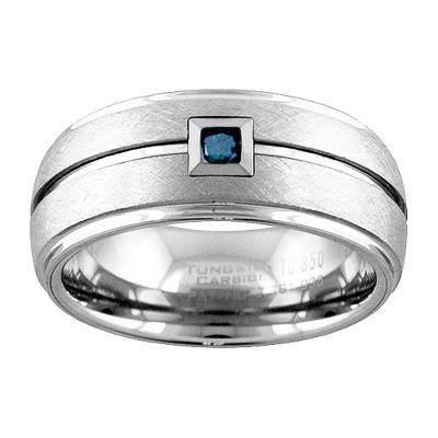 Unisex 9M 1/10 CT. T.W. Blue Diamond Tungsten Round Wedding Band