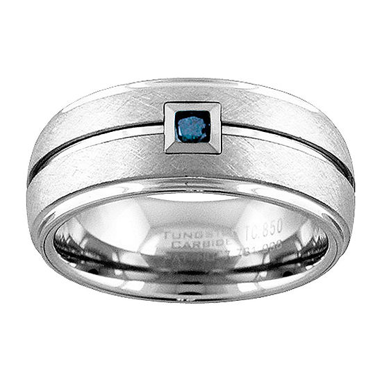 Unisex 9M 1/10 CT. T.W. Genuine Blue Diamond Tungsten Round Wedding Band