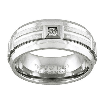 Unisex 9M 1/10 CT. T.W. Genuine White Diamond Tungsten Round Wedding Band