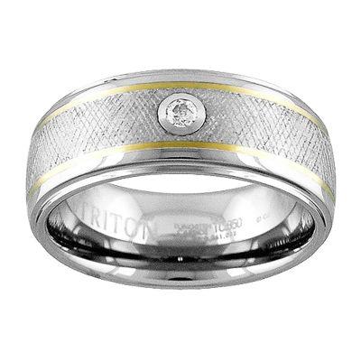 Unisex 9M Diamond Accent Genuine White Diamond 14K Gold Tungsten Round Wedding Band