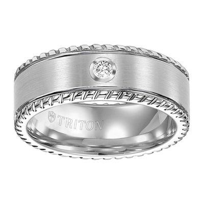 Unisex 8mm 1/10 CT. T.W. Genuine White Diamond Tungsten Round Wedding Band