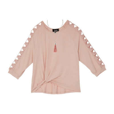 by&by girl 3/4 Sleeve Sweatshirt - Big Kid Girls