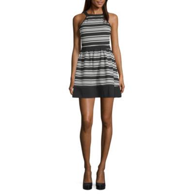 Speechless Sleeveless Striped Fit & Flare Dress-Juniors