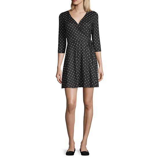 by&by 3/4 Sleeve Dots Fit & Flare Dress-Juniors