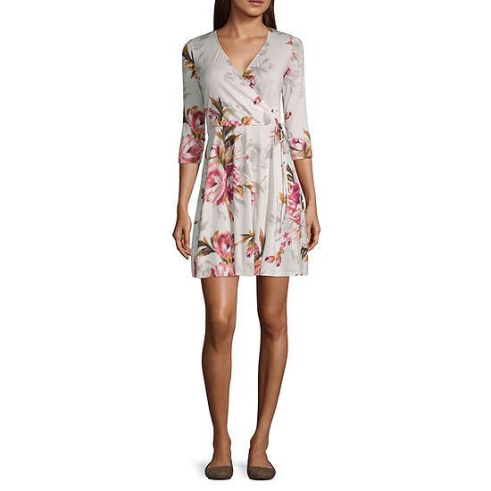 Byby 3 4 Sleeve Floral Fit Flare Dress Juniors