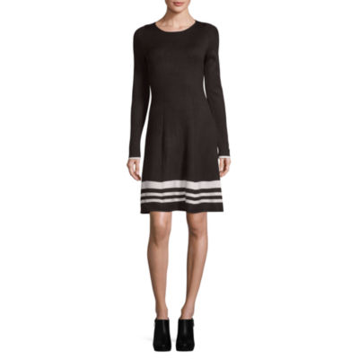 Jessica Howard 3/4 Sleeve Stripe Fit & Flare Dress-Petite