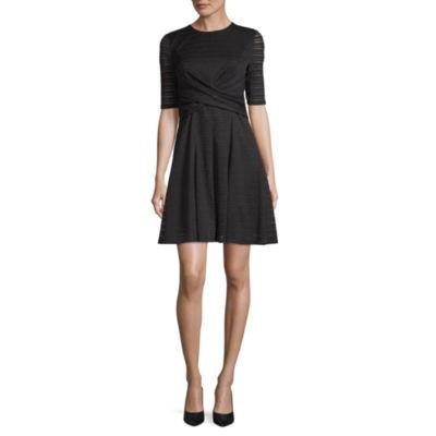 London Times Long Sleeve Stripe Fit & Flare Dress-Petite