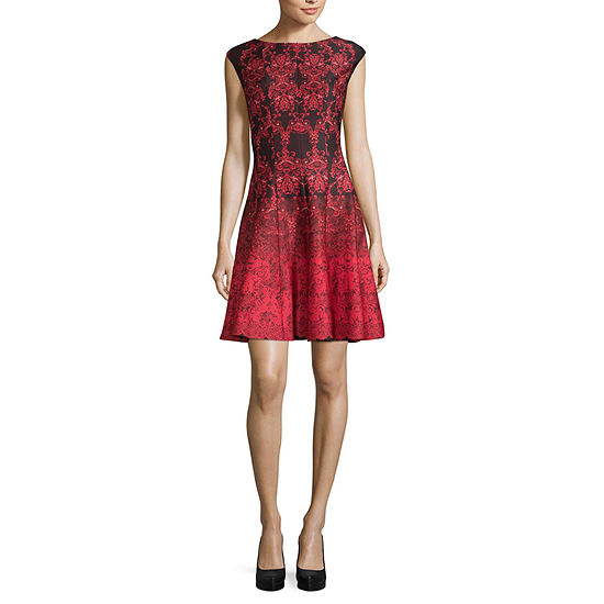 Danny & Nicole-Petite Sleeveless Damask Fit & Flare Dress