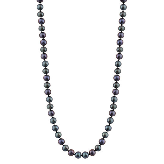 Womens 5MM Black Cultured Freshwater Pearl Strand Necklace