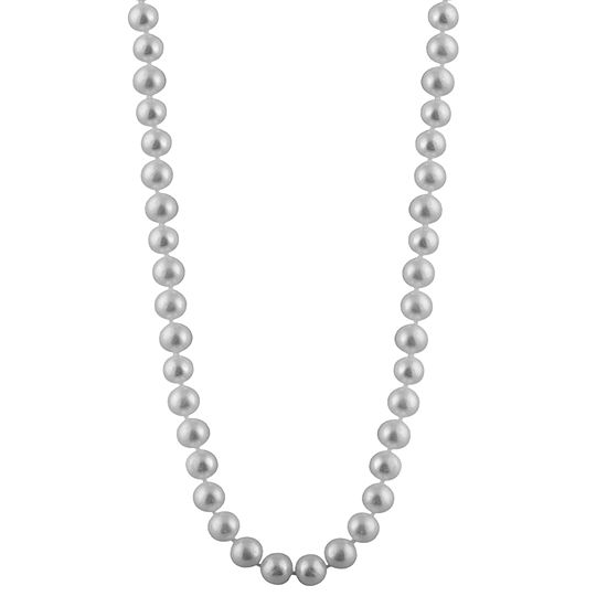 Womens 6MM Gray Cultured Freshwater Pearl Strand Necklace
