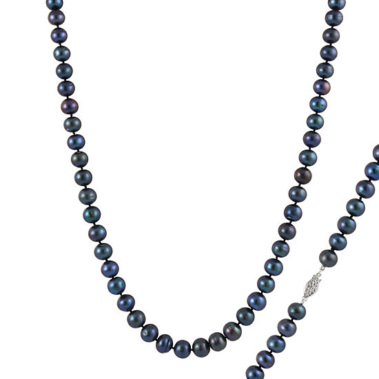 Womens 6MM Black Cultured Freshwater Pearl Strand Necklace