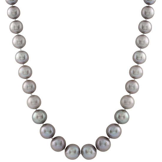 Womens 10MM Gray Cultured Freshwater Pearl Strand Necklace