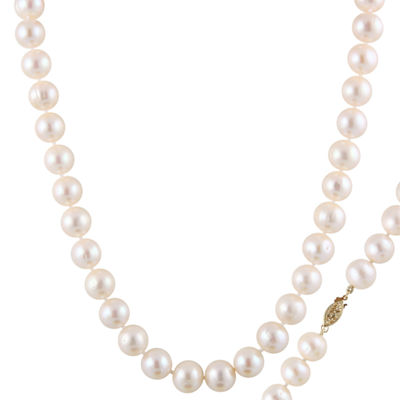 Womens 11MM White Cultured Freshwater Pearl Strand Necklace