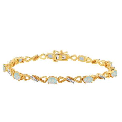 Lab Created White Opal 7.5 Inch Tennis Bracelet