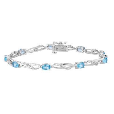 Genuine Blue Topaz 7.5 Inch Tennis Bracelet