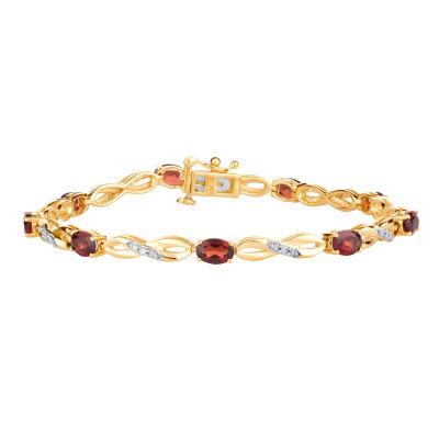 1/5 CT. T.W. Genuine Red Garnet 10K Gold 7.5 Inch Tennis Bracelet