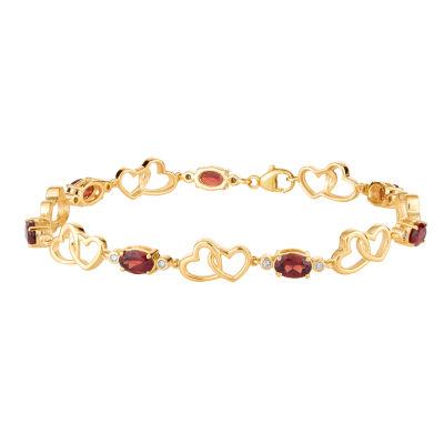 1/7 CT. T.W. Genuine Red Garnet 10K Gold 7.5 Inch Tennis Bracelet