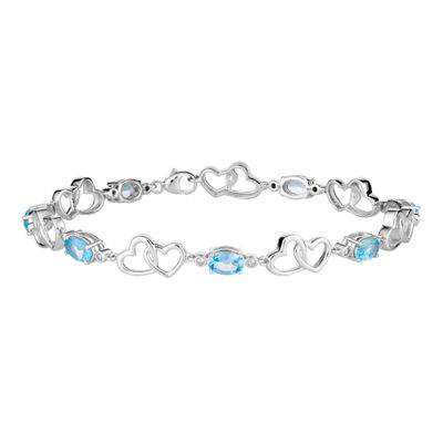 1/7 CT. T.W. Genuine Blue Topaz 10K White Gold 7.5 Inch Tennis Bracelet