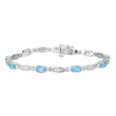 1/2 CT. T.W. Genuine Blue Topaz 10K White Gold 7.5 Inch Tennis Bracelet