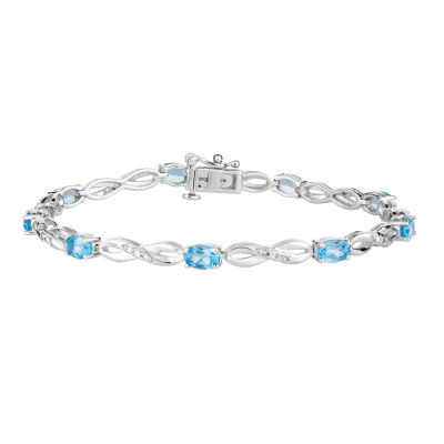 1/5 CT. T.W. Genuine Blue Topaz 10K White Gold 7.5 Inch Tennis Bracelet