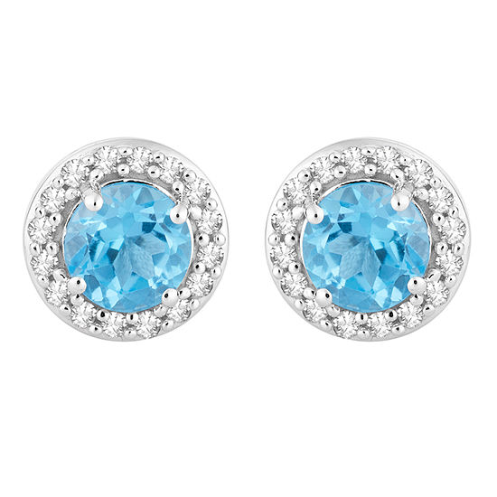 1/7 CT. T.W. Genuine Blue Topaz 10K White Gold 7.1mm Stud Earrings