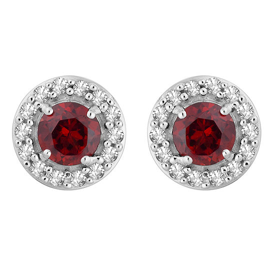 1/7 CT. T.W. Genuine Red Garnet 10K White Gold 7.1mm Stud Earrings