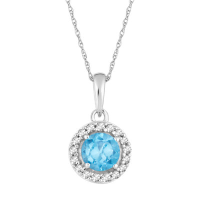 Womens 1/10 CT. T.W. Genuine Blue Topaz 10K White Gold Pendant Necklace