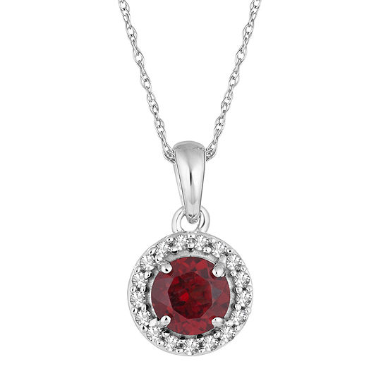 Womens 1/10 CT. T.W. Genuine Red Garnet 10K White Gold Pendant Necklace