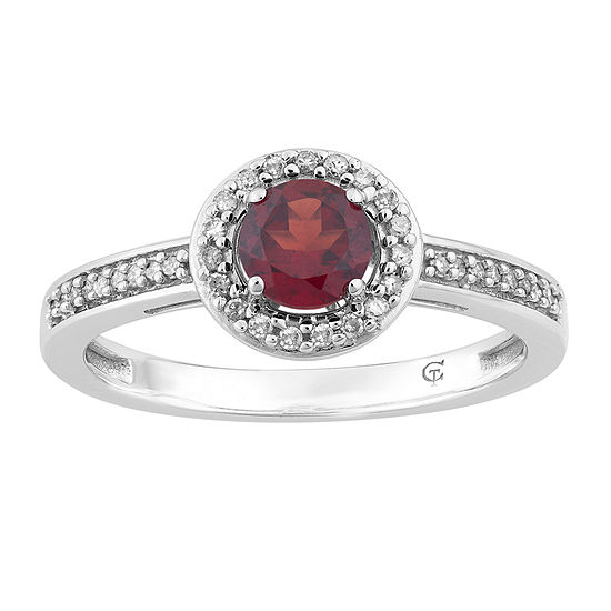 Womens 1/7 CT. T.W. Genuine Red Garnet 10K White Gold Cocktail Ring