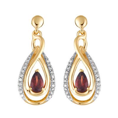 1/7 CT. T.W. Genuine Red Garnet 10K Gold Drop Earrings