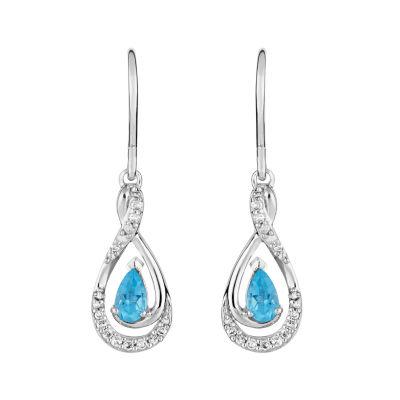 1/7 CT. T.W. Genuine Blue Topaz 10K White Gold Drop Earrings
