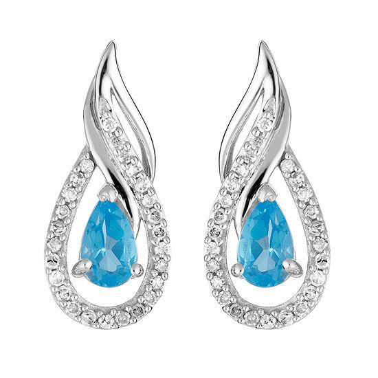 1 7 Ct Tw Genuine Blue Topaz 10k White Gold Drop Earrings