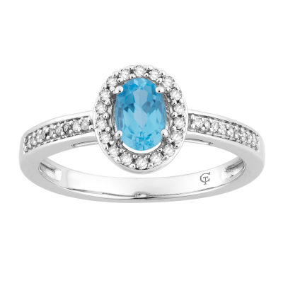 Womens 1/7 CT. T.W. Genuine Blue Topaz 10K White Gold Cocktail Ring