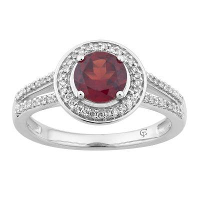 Womens 1/5 CT. T.W. Genuine Red Garnet 10K White Gold Cocktail Ring