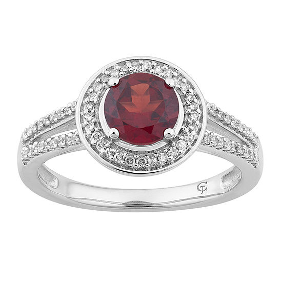 Womens 1/5 CT. T.W. Genuine Red Garnet 10K White Gold Cocktail Ring