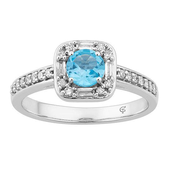 Womens 1 4 Ct Tw Genuine Blue Topaz 10k White Gold Cocktail Ring