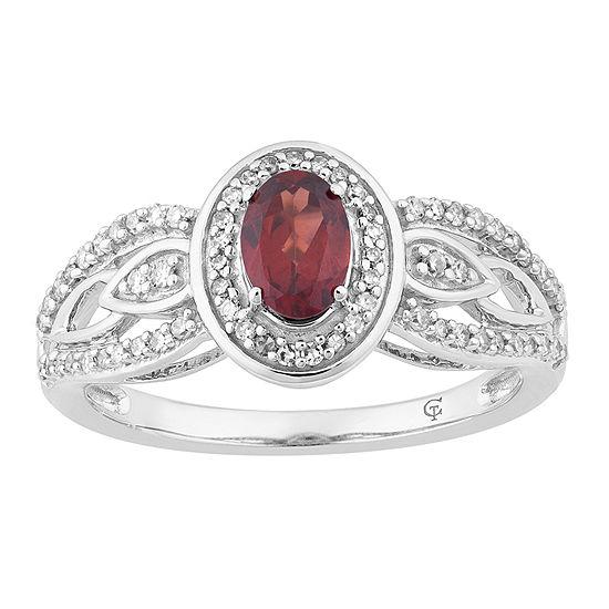 Womens 1/3 CT. T.W. Genuine Red Garnet 10K White Gold Cocktail Ring