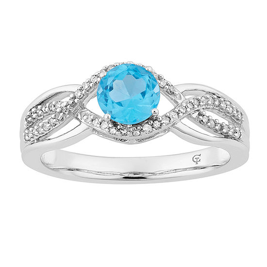 Womens 1/5 CT. T.W. Genuine Blue Topaz 10K White Gold Cocktail Ring