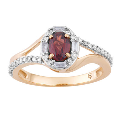 Womens 1/4 CT. T.W. Genuine Red Garnet 10K Gold Cocktail Ring