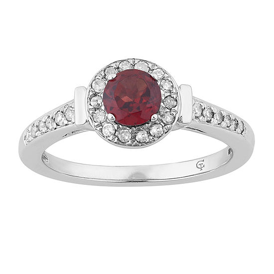 Womens 1/6 CT. T.W. Genuine Red Garnet 10K White Gold Cocktail Ring
