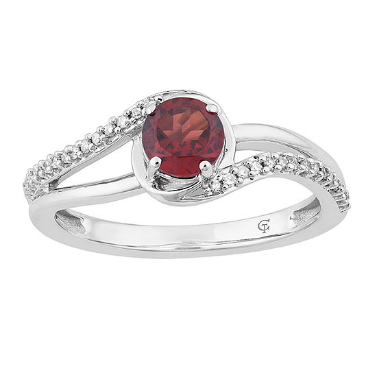 Womens 1/8 CT. T.W. Genuine Red Garnet 10K White Gold Cocktail Ring