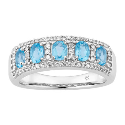 Womens 1/4 CT. T.W. Genuine Blue Topaz 10K White Gold Cocktail Ring